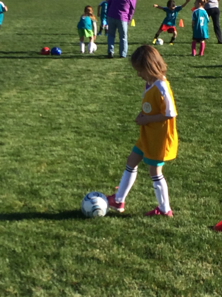 Lydia, first soccer game, April 2014