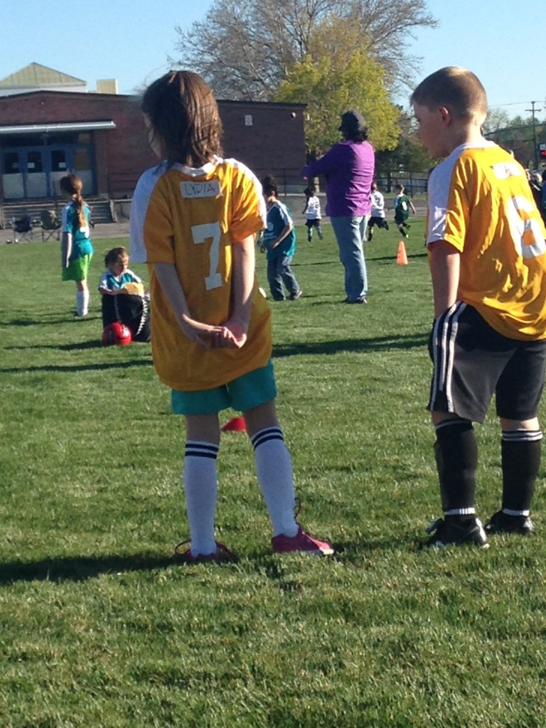 Lydia, first soccer game, April 2014. 2JPG