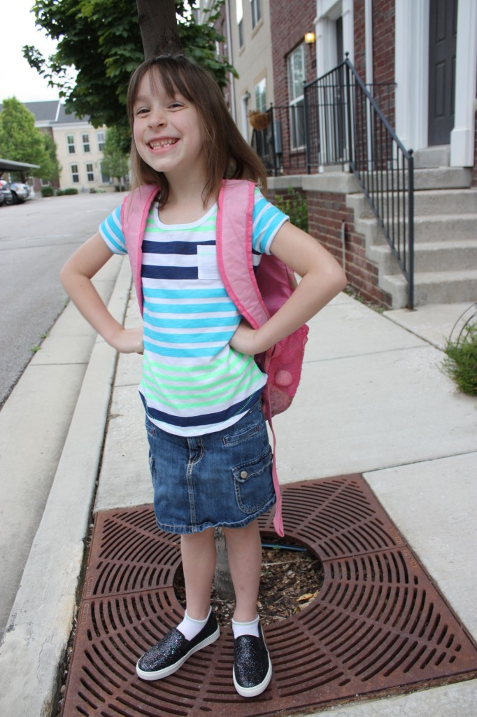Lydia, first day of 1st grade, 2014 8