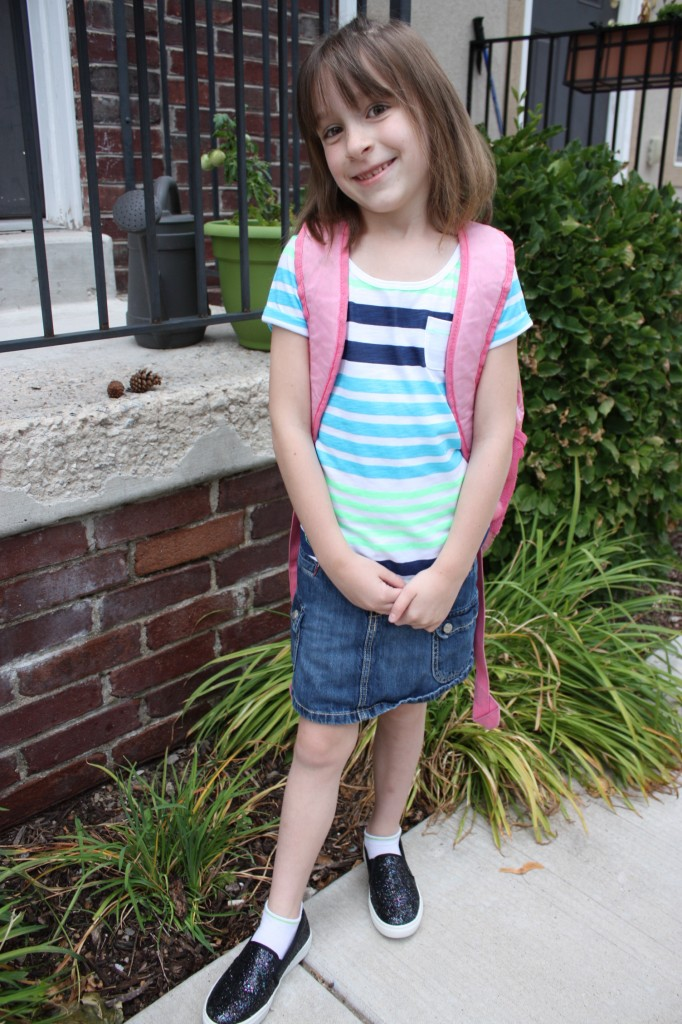 Lydia, first day of 1st grade, 2014